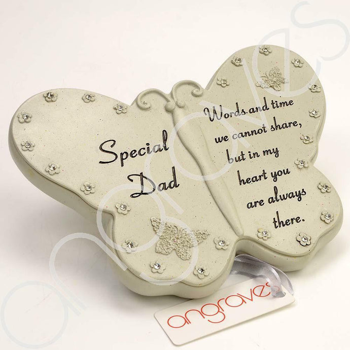 Special Dad Diamante Flower Butterfly Ornament - Angraves Memorials