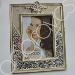 Natural Stone and Silver Glass Mosaic Photo Frame (5 x 7 Inch) - Angraves Memorials