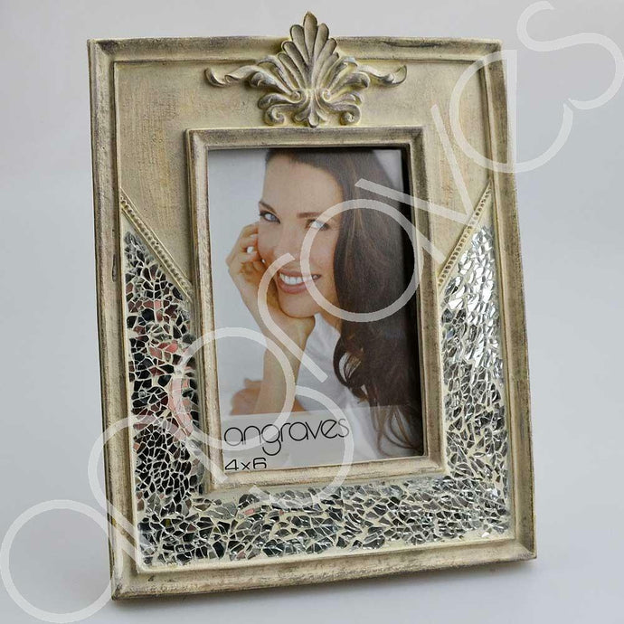 Natural Stone and Silver Glass Mosaic Photo Frame (4 x 6 Inch) - Angraves Memorials