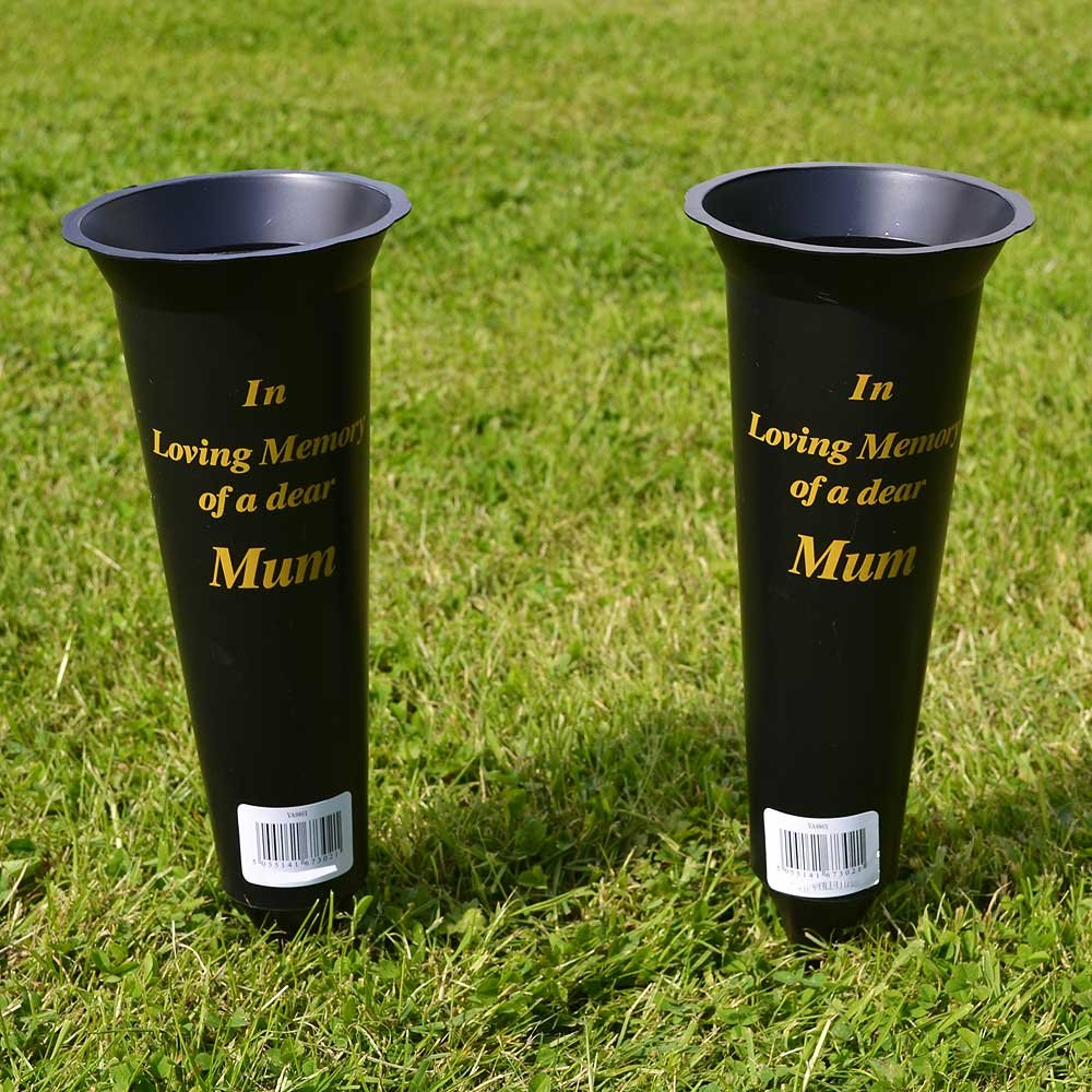 Set of 2 Mum In Loving Memory Spiked Memorial Grave Flower Vases