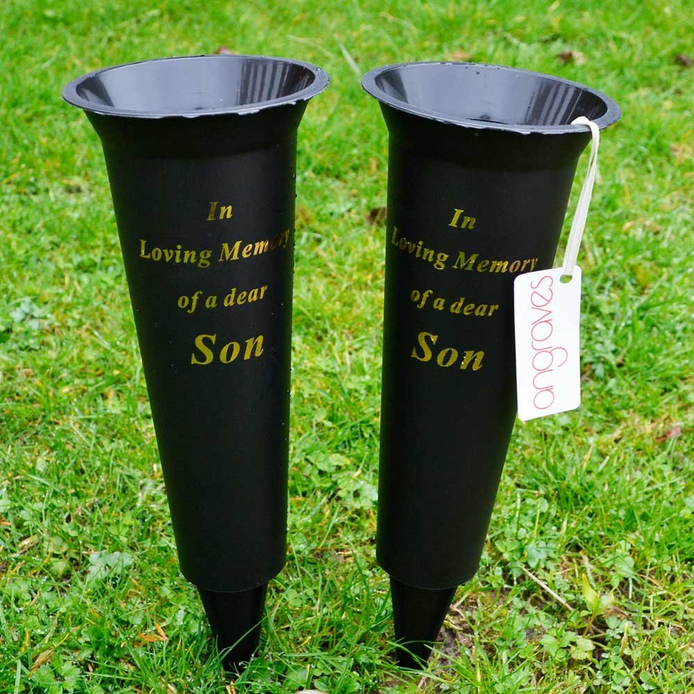 Set of 2 Son In Loving Memory Spiked Memorial Grave Flower Vases Holder