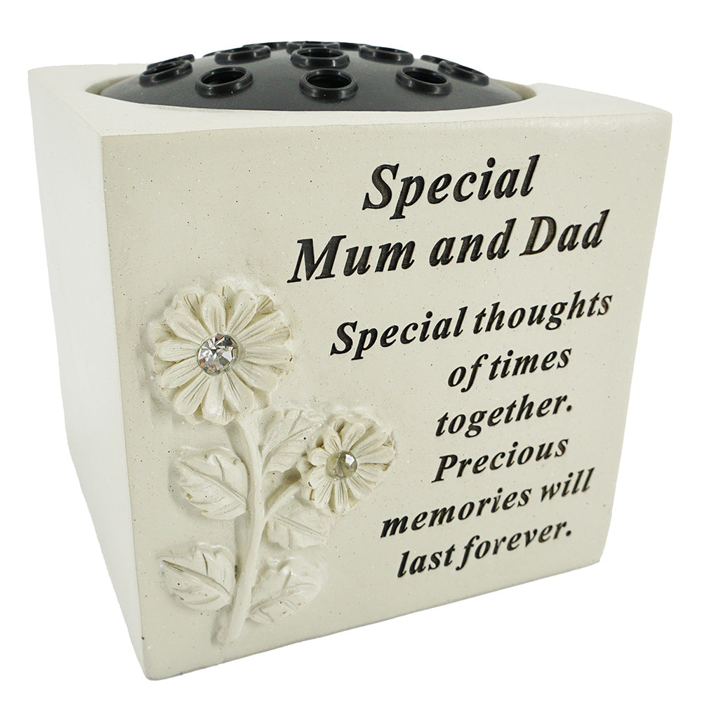 Special Mum and Dad Diamante Flower Vase