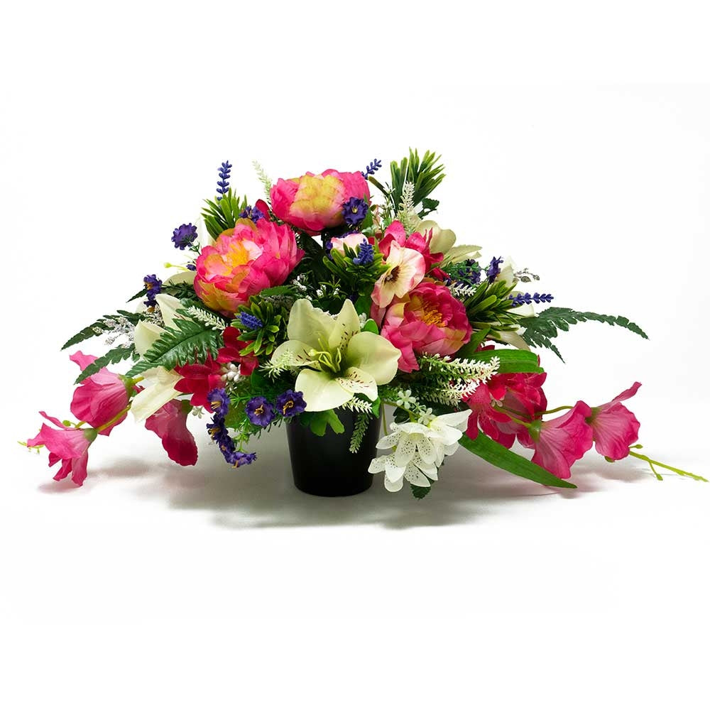 Erika Pink Peony & White Lily Artificial Memorial Flower Arrangement