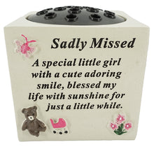 Load image into Gallery viewer, A Special Little Girl Teddy & Flowers Graveside Memorial Flower Vase