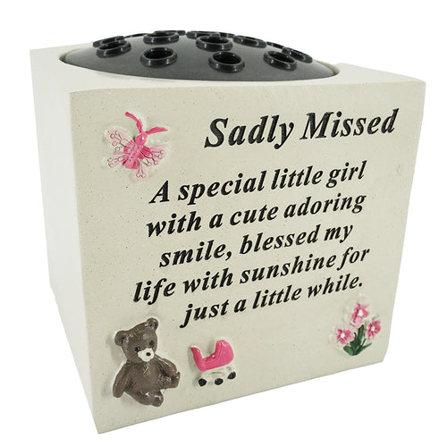A Special Little Girl Teddy & Flowers Graveside Memorial Flower Vase