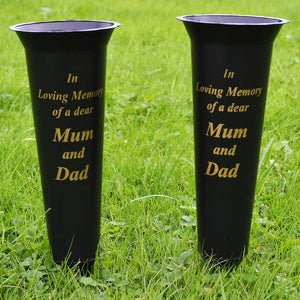 Set of 2 Mum & Dad In Loving Memory Spiked Memorial Grave Flower Vases