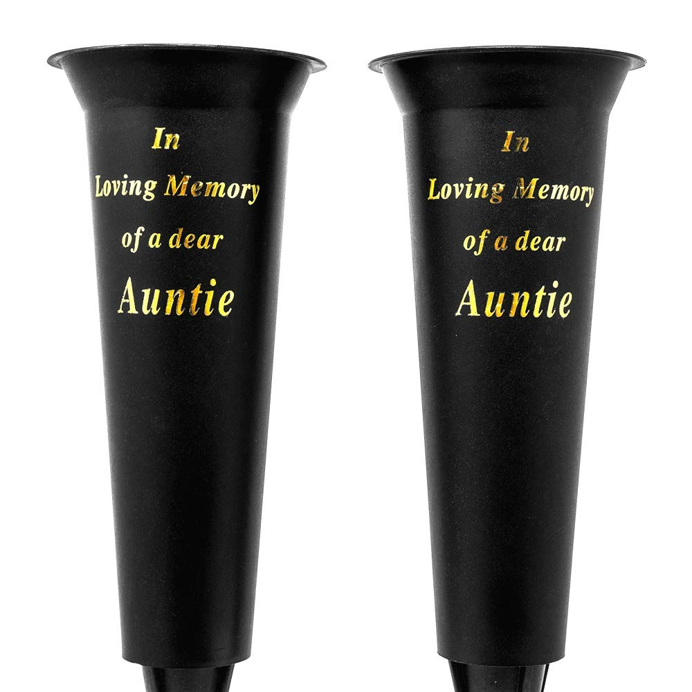 Set of 2 In Loving Memory Auntie Spiked Memorial Grave Flower Vases
