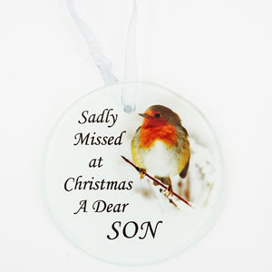 Son Christmas Robin Memorial Tree Hanging Decoration