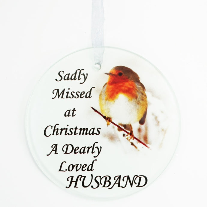 Husband Christmas Robin Memorial Tree Hanging Decoration