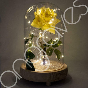 Yellow Friendship Sparkle Handmade Enchanted Rose with Glass Dome Bell Jar and LED Lights (23cm)