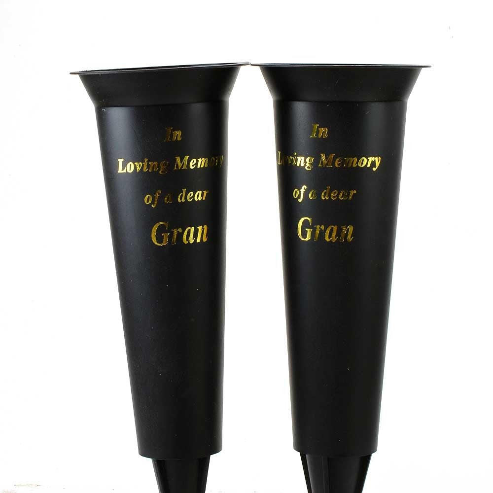 Set of 2 Gran In Loving Memory Spiked Memorial Grave Flower Vases