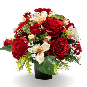 Lena Red Rose Orchid Artificial Flower Memorial Arrangement