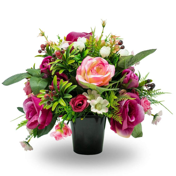 Izzie Pink Rose & Bud Artificial Flower Memorial Arrangement