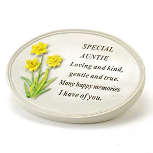 Special Auntie Oval Yellow Daffodil Flower Ornament