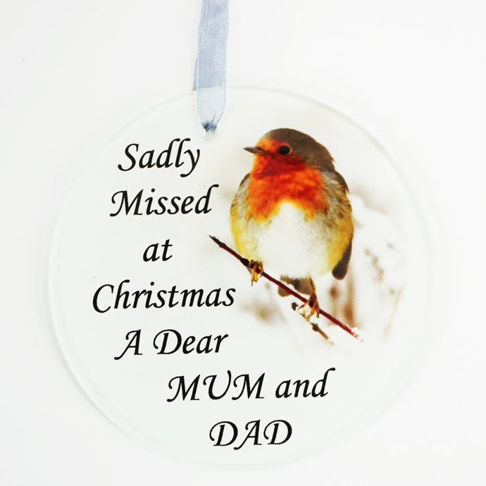 Mum & Dad Christmas Robin Memorial Tree Hanging Decoration