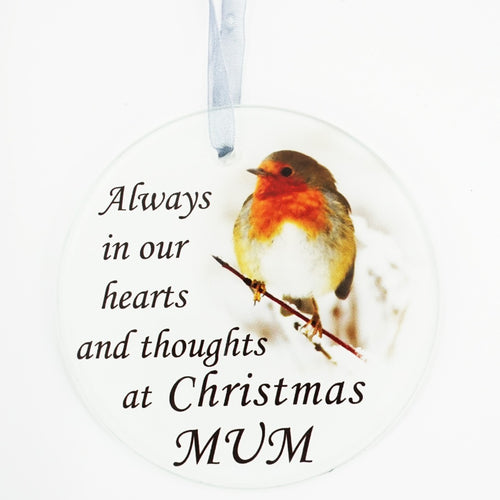 Mum Christmas Robin Memorial  Tree Hanging Decoration Gift Plaque Momento Tribut