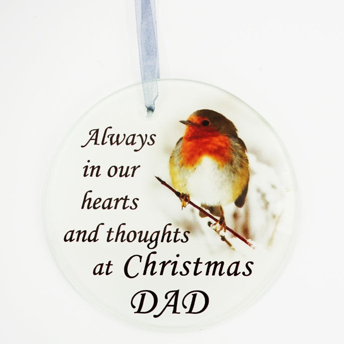 Dad Christmas Robin Memorial Tree Hanging Decoration