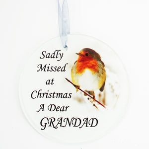 Grandad Christmas Robin Memorial Tree Hanging Decoration