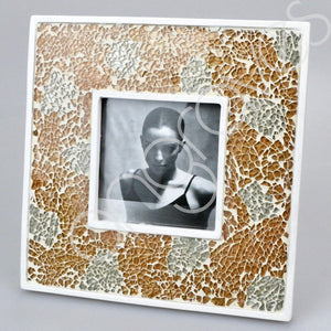 Champagne Mosaic Photo Frame (4 x 4 inch) - Angraves Memorials