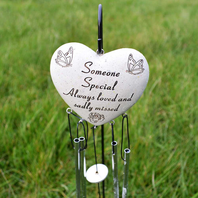 Someone Special Always Loved Sadly Missed Heart Wind Chime - Angraves Memorials