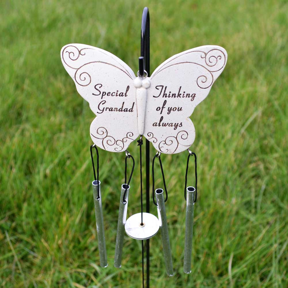 Special Grandad Thinking Of You Always Butterfly Wind Chime - Angraves Memorials