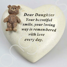 Load image into Gallery viewer, Special Daughter Textured Teddy Bear Heart Memorial Plaque