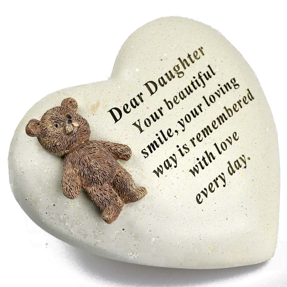Special Daughter Textured Teddy Bear Heart Memorial Plaque
