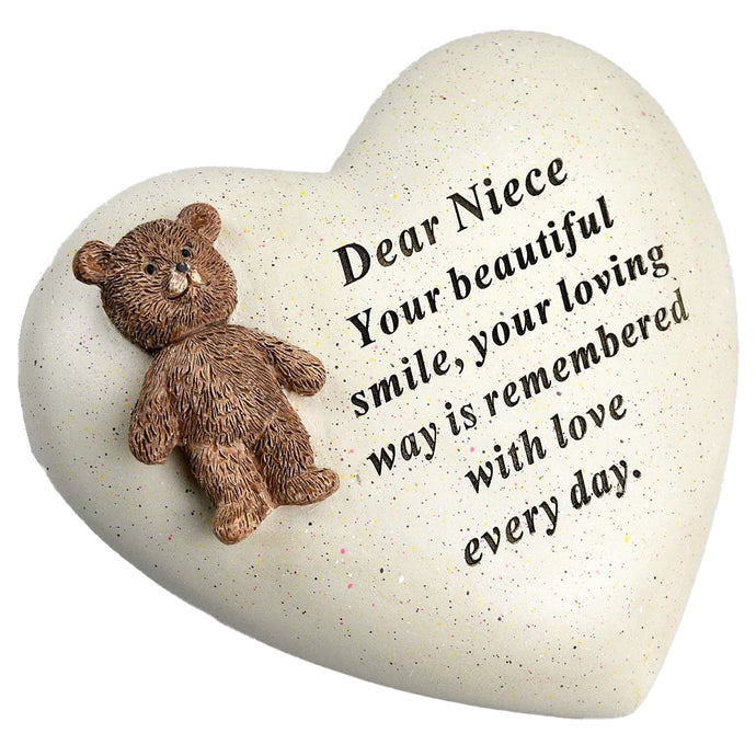 Special Niece Textured Teddy Bear Heart Memorial Plaque