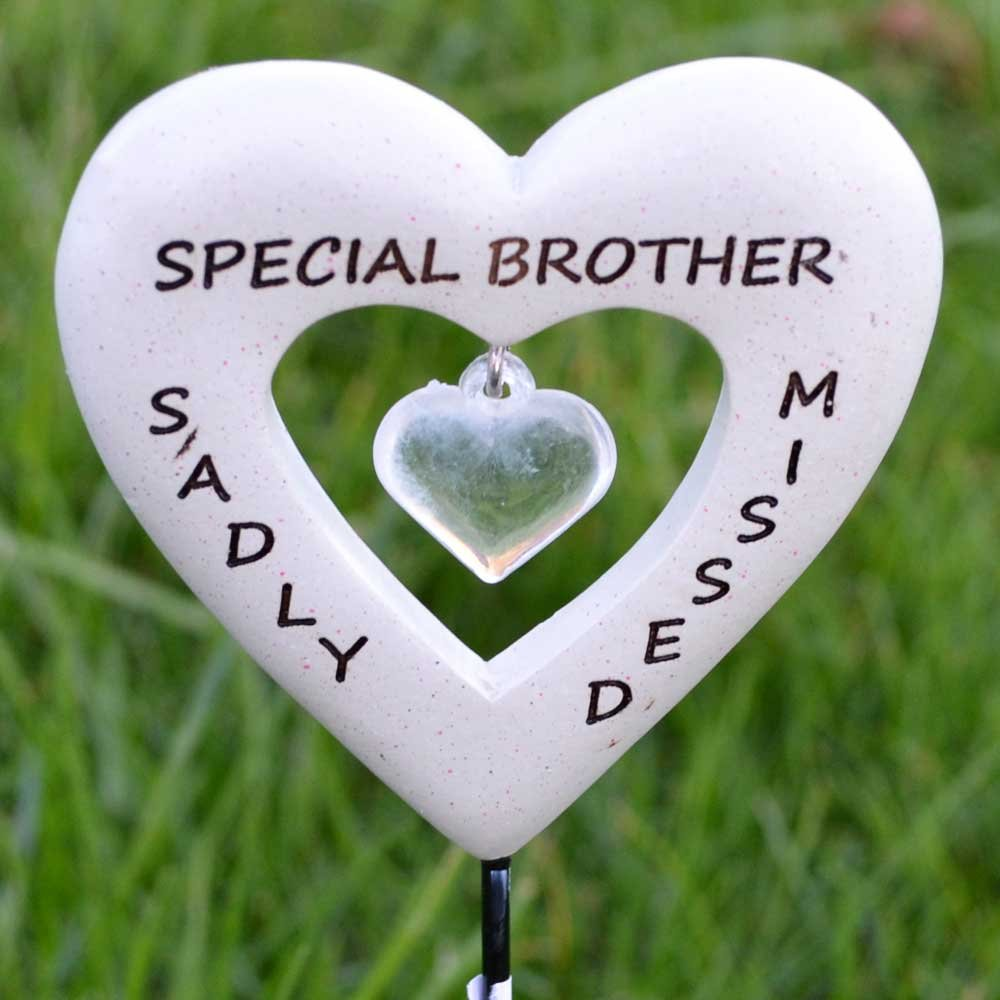 Sadly Missed Special Brother Love Heart Memorial Remembrance Stick
