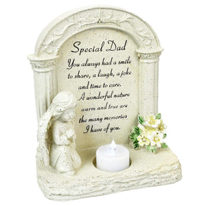 Special Dad Praying Angel With Flickering Tealight Memorial Plaque