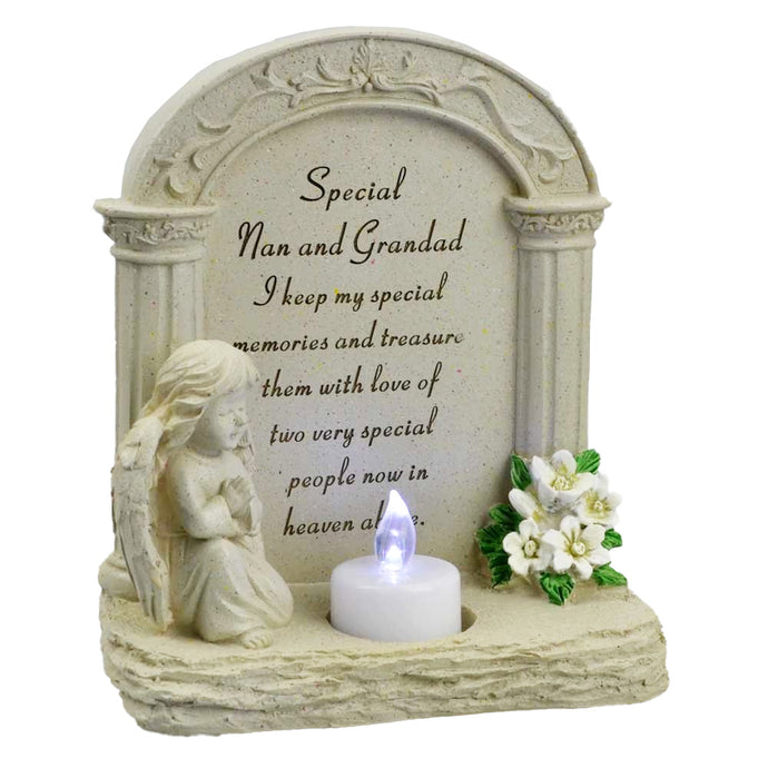 Special Nan & Grandad Praying Angel With Flickering Tealight Memorial Plaque