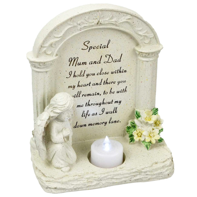 Special Mum & Dad Praying Angel With Flickering Tealight Memorial Plaque