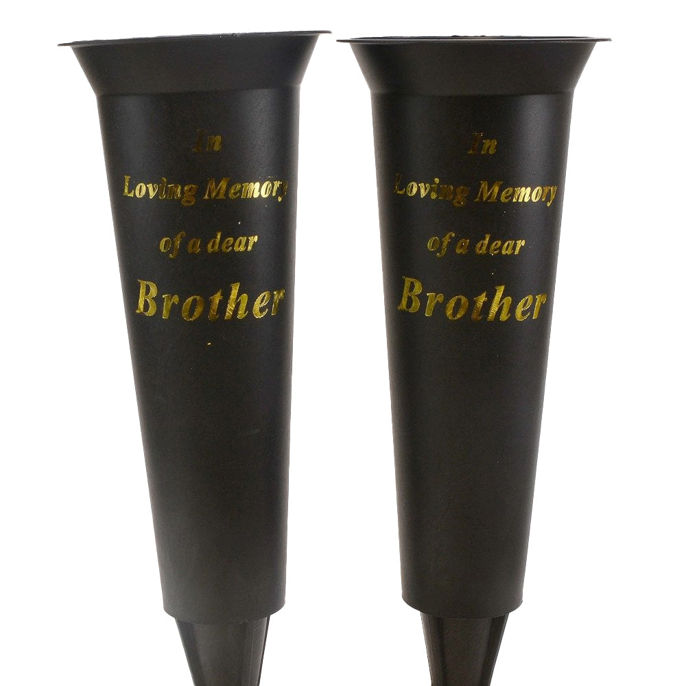 Set of 2 In Loving Memory Brother Spiked Memorial Grave Flower Vases