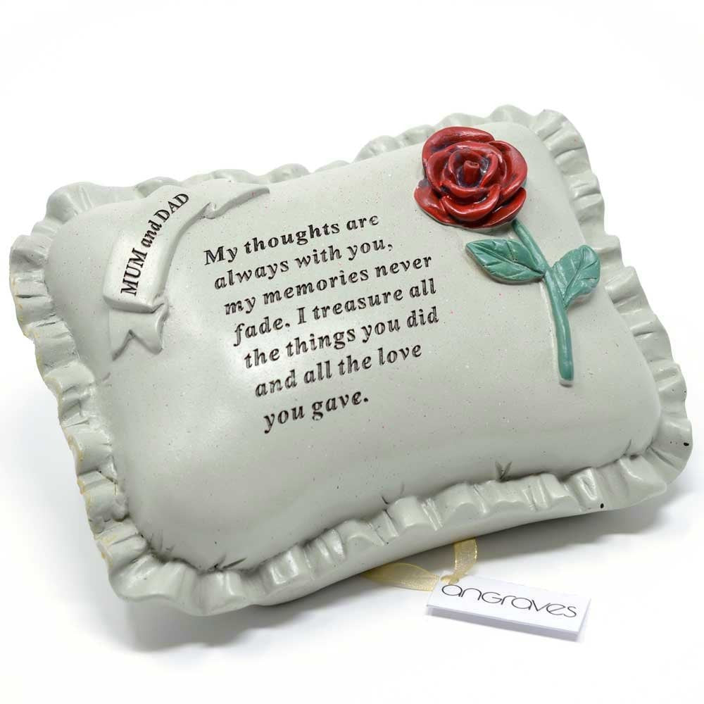 Special Mum & Dad With Rose Pillow Graveside Ornament