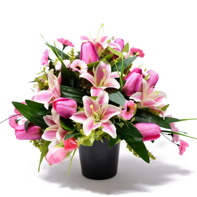 Lucie Pink Lily & Tulip Artificial Flower Memorial Arrangement