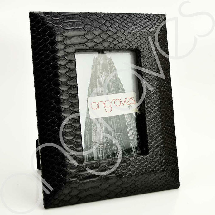 Black Faux Textured Snake Skin Photo Frame (4 x 6 Inch) - Angraves Memorials