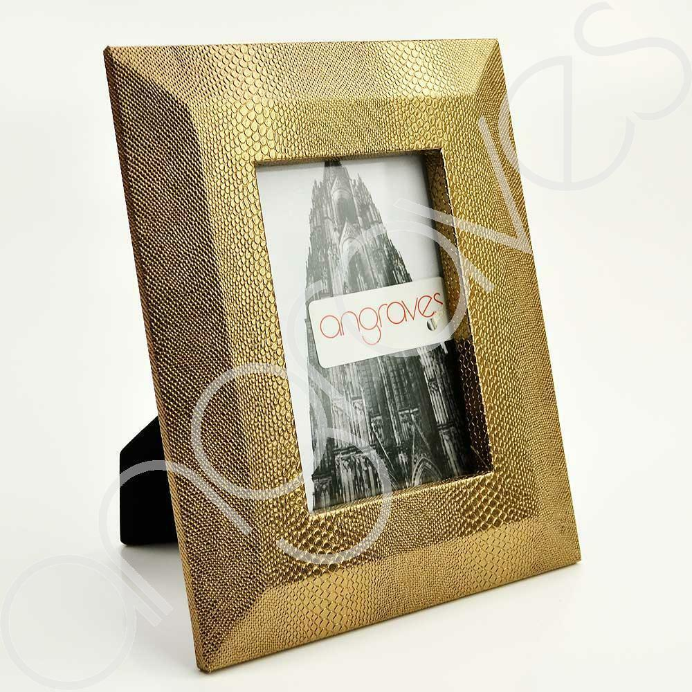 Gold Faux Textured Lizard Skin Photo Frame (4 x 6 Inch) - Angraves Memorials