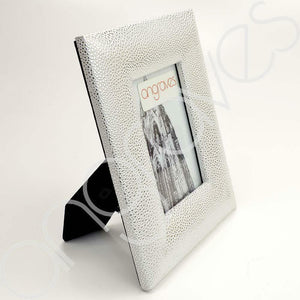Silver Faux Textured Leather Skin Photo Frame (4 x 6 Inch) - Angraves Memorials