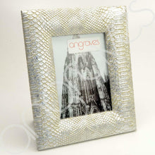 Load image into Gallery viewer, Silver Faux Textured Snake Skin Photo Frame (5 x 7 Inch) - Angraves Memorials