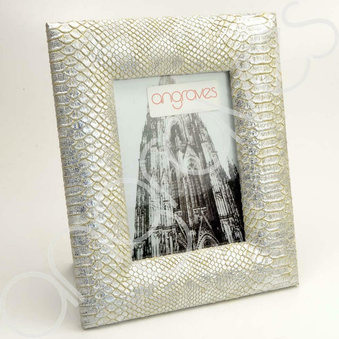 Silver Faux Textured Snake Skin Photo Frame (5 x 7 Inch) - Angraves Memorials