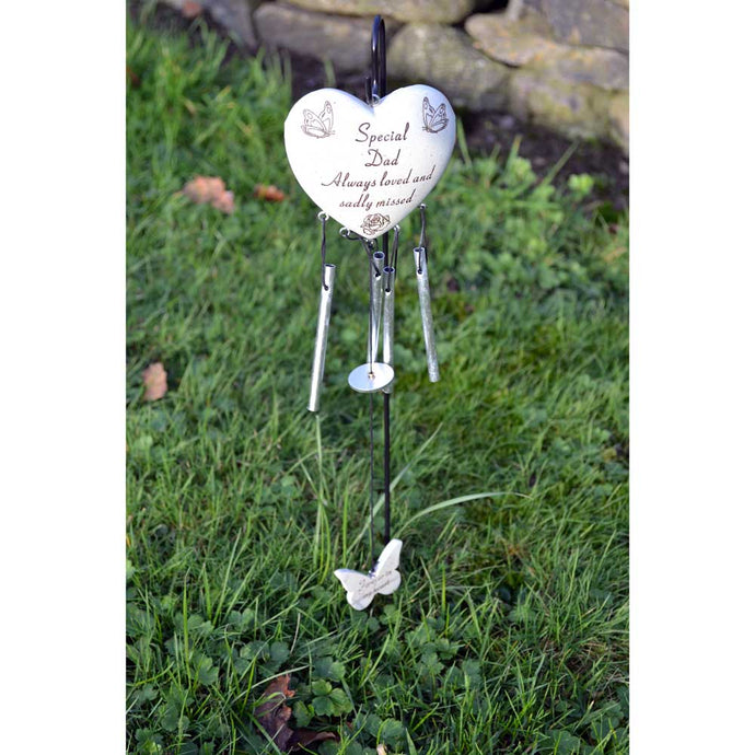 Special Dad Always Loved Sadly Missed Heart Wind Chime - Angraves Memorials