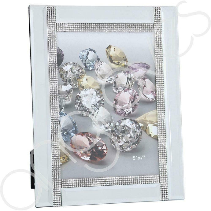 Silver Mirror Diamante Sparkle Photo Frame (5 x 7 inch) - Angraves Memorials