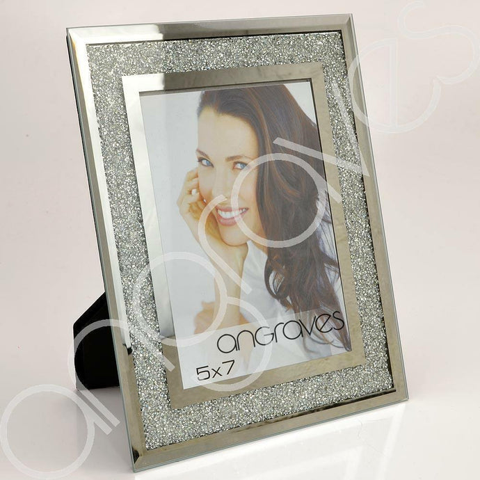 Silver Glitter Sparkle Diamond Crush Photo Frame (5 x 7 Inch) - Angraves Memorials