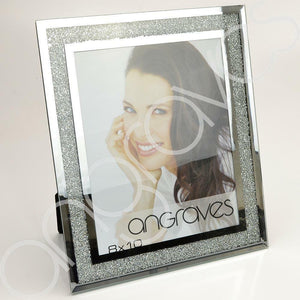 Silver Glitter Sparkle Diamond Crush Photo Frame (8 x 10 Inch) - Angraves Memorials