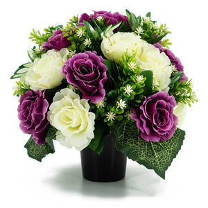 Eliana Purple & Ivory White Rose Artificial Flower Memorial Arrangement