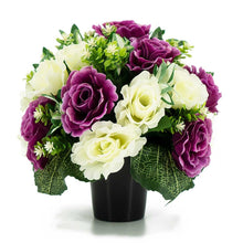 Load image into Gallery viewer, Eliana Purple & Ivory White Rose Artificial Flower Memorial Arrangement