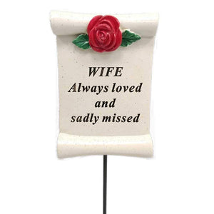 Always Loved Wife Flower Rose Scroll Memorial Remembrance Stick