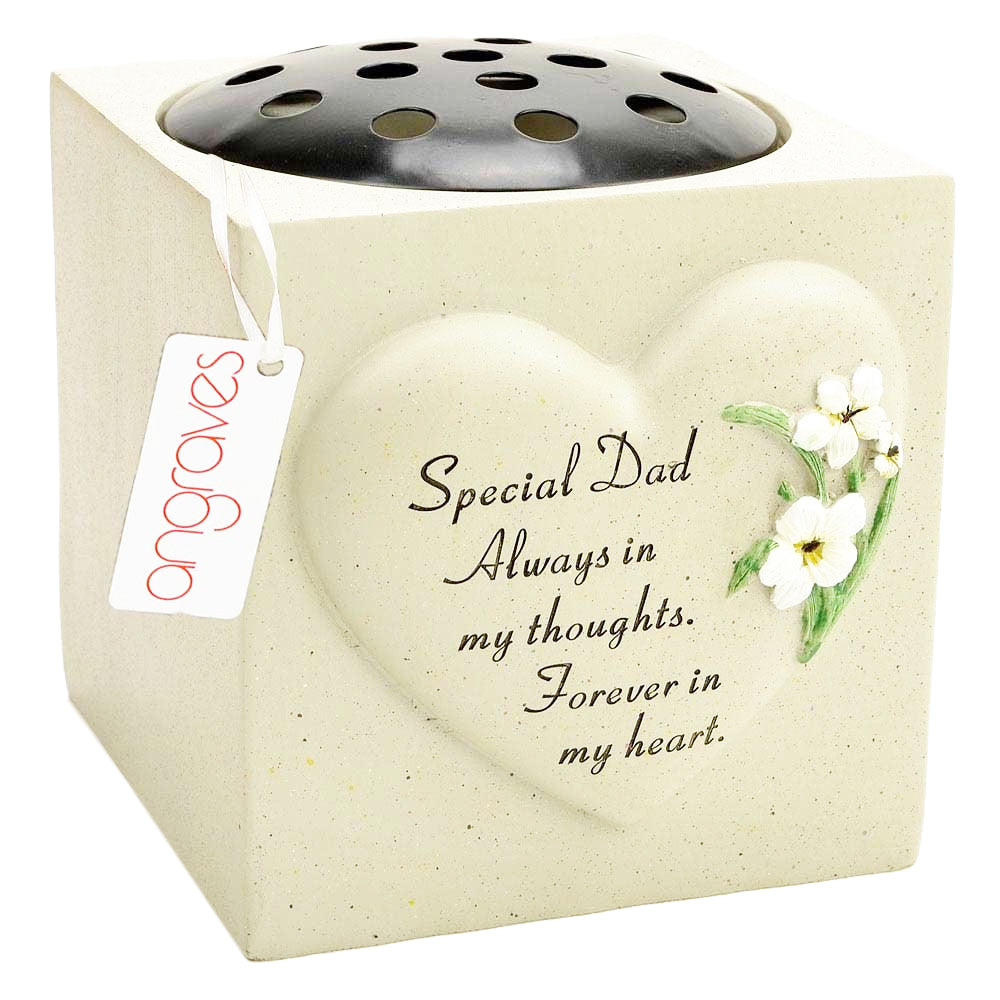 Special Dad Heart & Daffodil Flower Vase