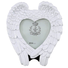 Load image into Gallery viewer, White Angel Wing & Heart Memorial Photo Frame (4 x 4 inch)