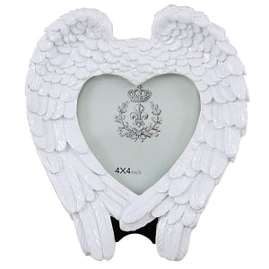 White Angel Wing & Heart Memorial Photo Frame (4 x 4 inch)